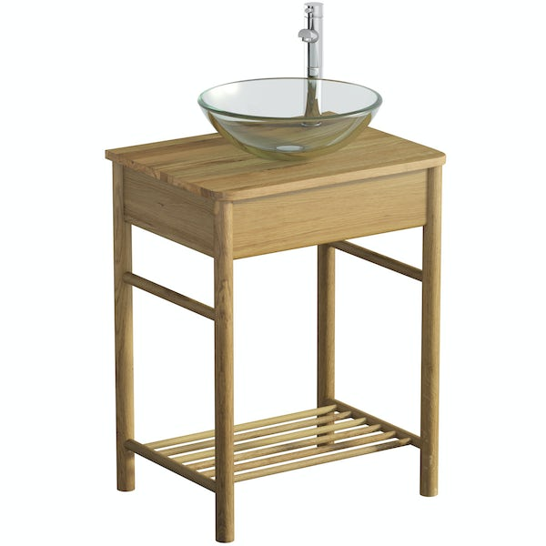 Mode South Bank natural wood washstand with Mackintosh basin, tap and waste