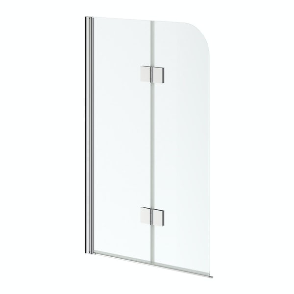 6mm hinged straight shower bath screen