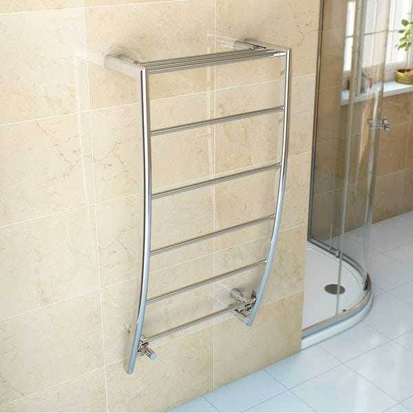 Clarity Chrome curved heated towel rail 1200 x 600