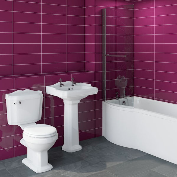 Winchester bathroom suite with left handed Evesham P shaped shower bath 1675 x 850
