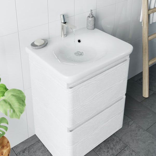 Mode Heath white floor standing unit and basin 600mm