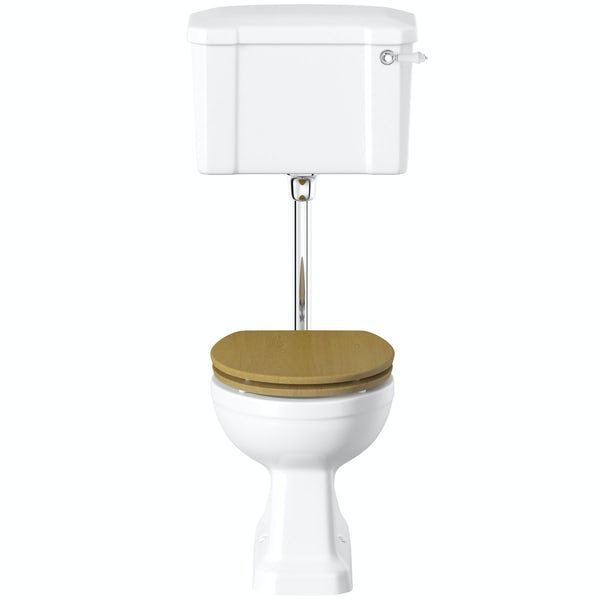 Camberley Low Level Toilet inc Luxury Solid Oak Seat