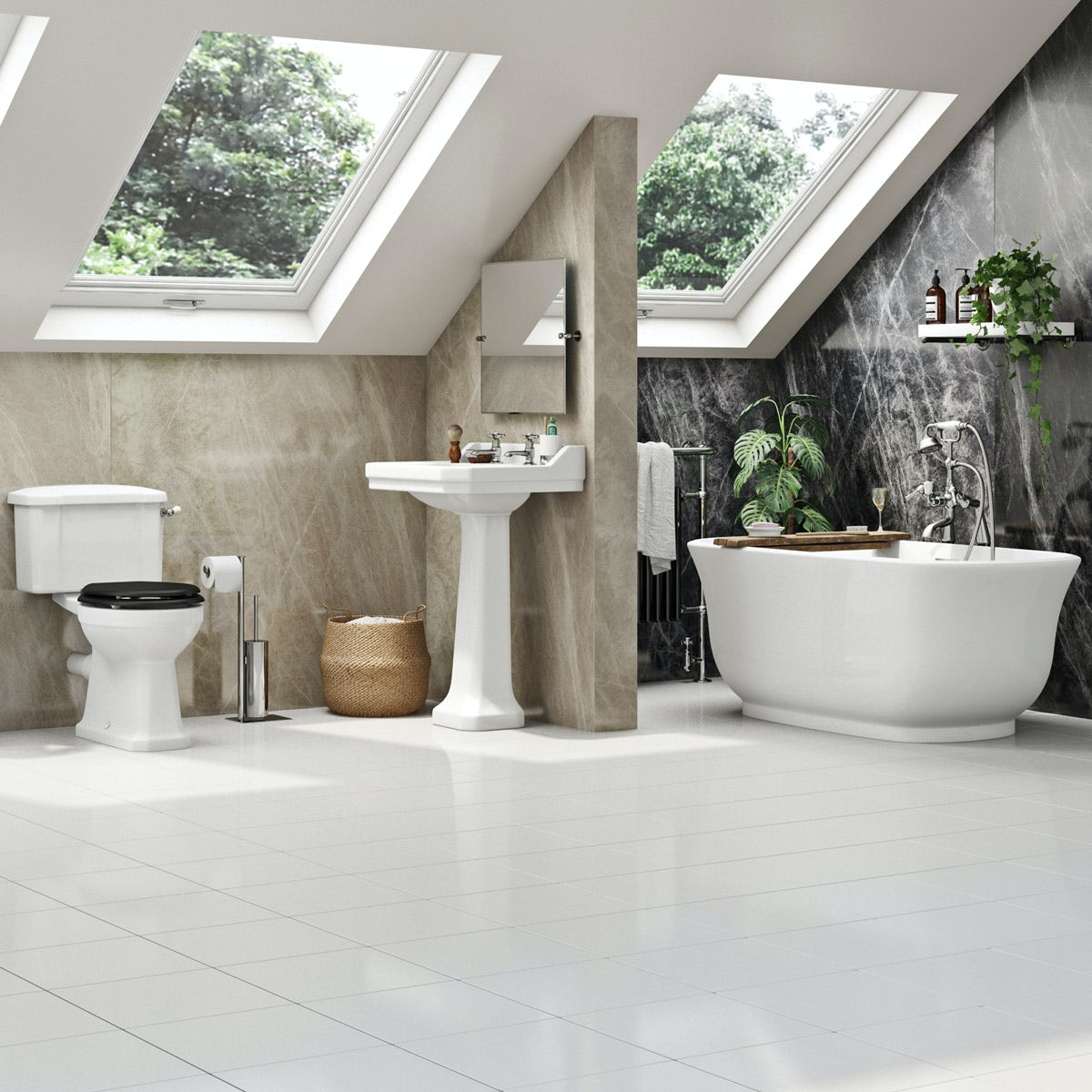 The Bath Co. Camberley black complete freestanding bath suite