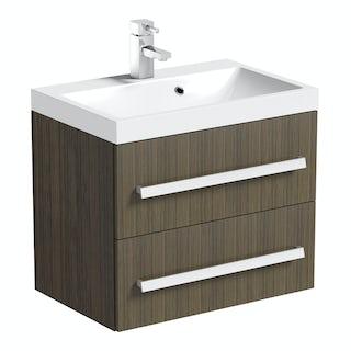 Wye walnut 600 wall hung vanity unit with basin