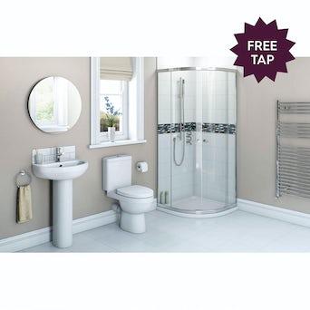 Energy Bathroom set with Quadrant Enclosure, Tray 900