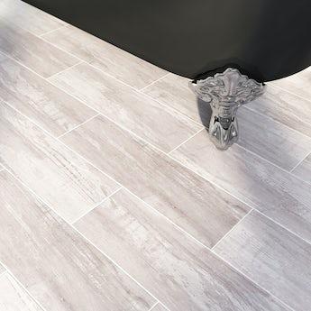 Bark limed wood effect brown matt tile 148mm x 498mm