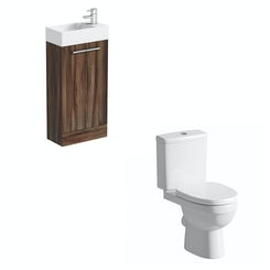 Compact walnut floor standing unit with Energy close coupled toilet