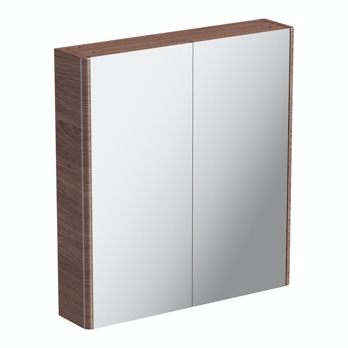 Mode Sherwood chestnut curved mirror cabinet 600mm