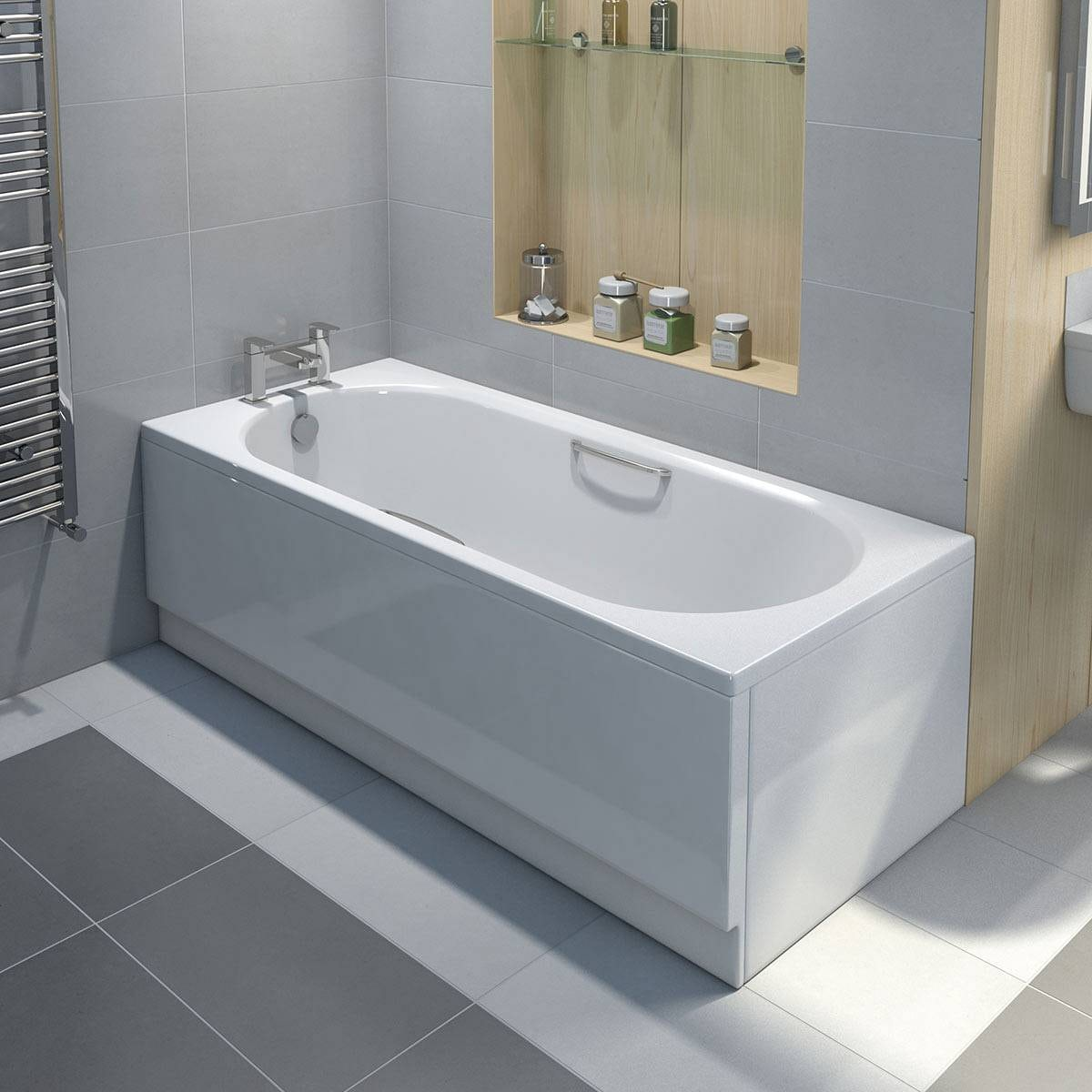Orchard Ealing single ended bath 1700 x 700 with hand grips ...