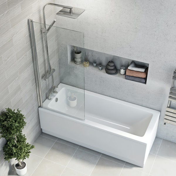 Eden square edge straight shower bath with 5mm shower screen