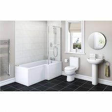 Image of Energy Bathroom Suite with Boston 1700 x 850 Shower Bath RH & Free Tap