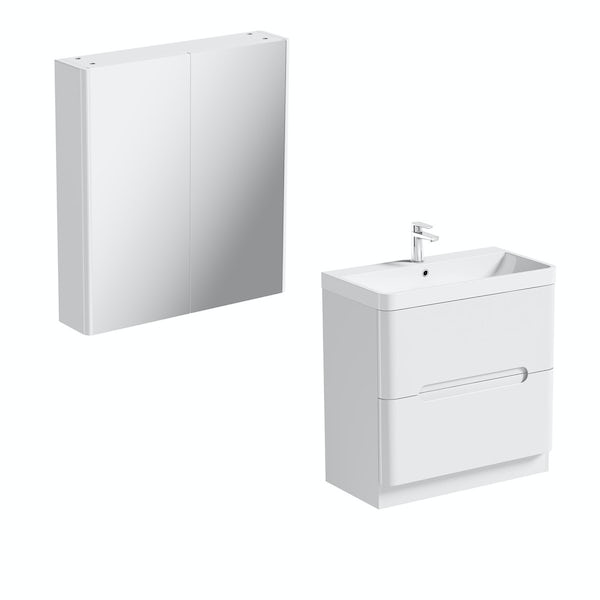 Mode ellis white vanity drawer unit 800mm and mirror for Bathroom cabinets 800mm high