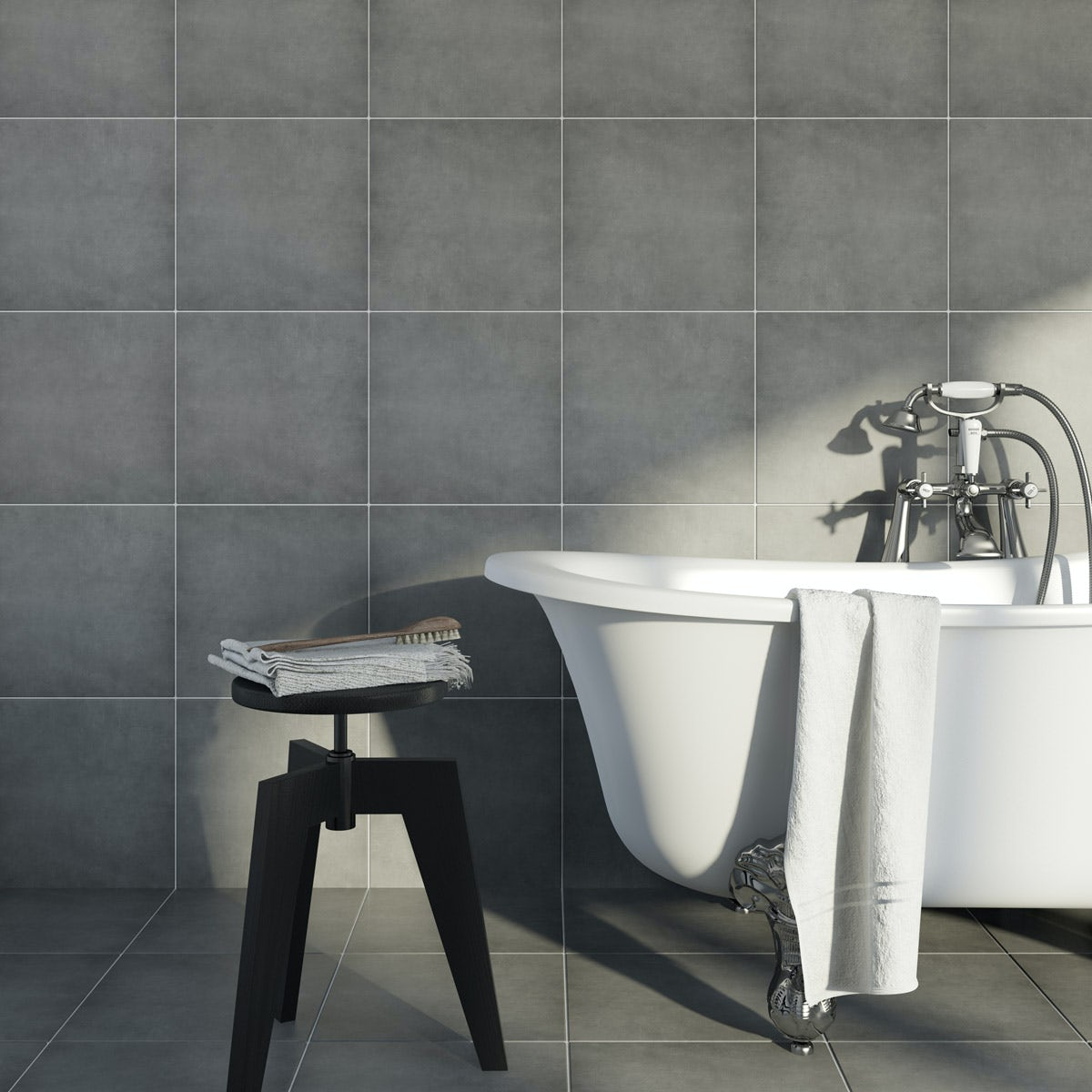 British Ceramic Tile Victoriana Feature plain grey matt floor tile 331mm x 331mm