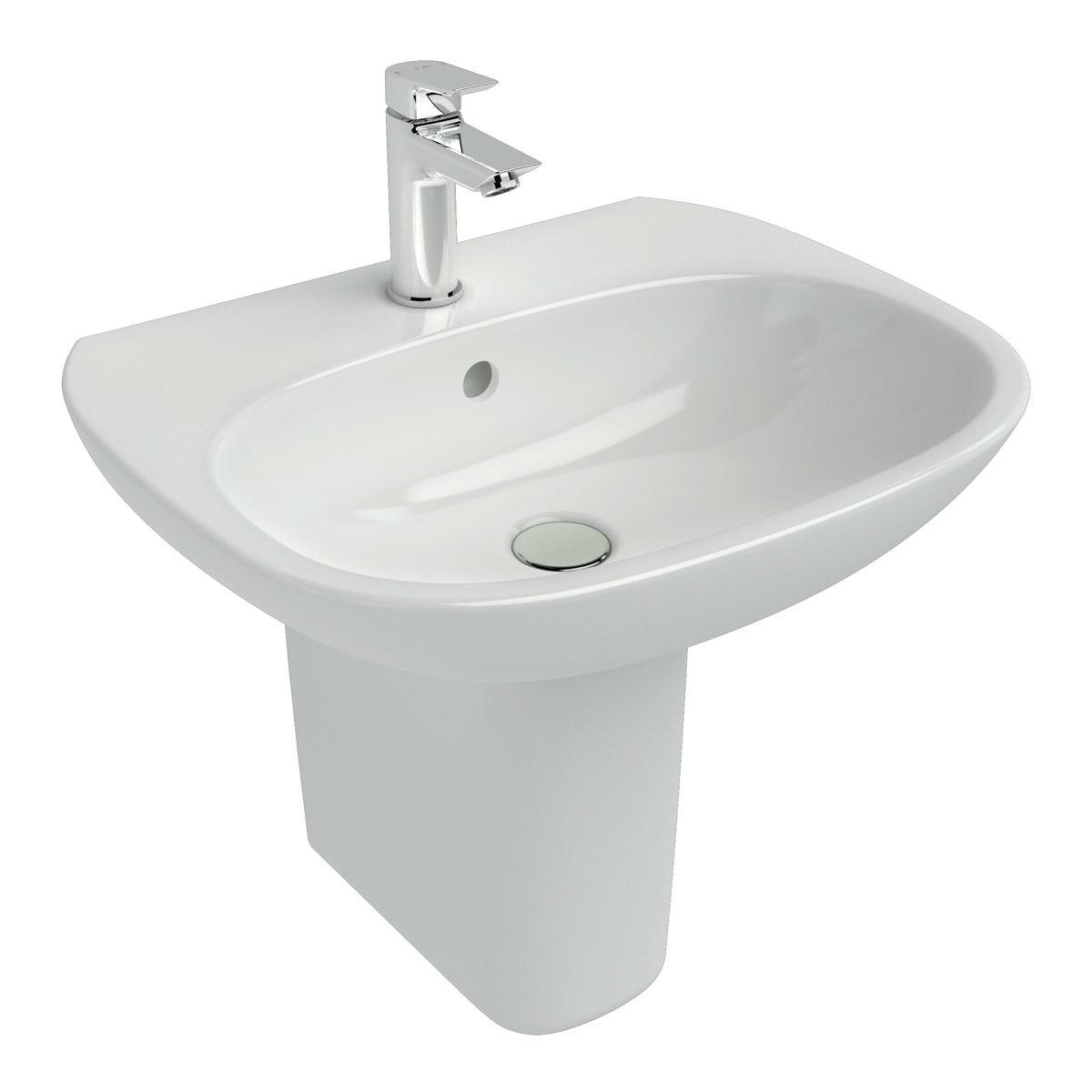 Ideal standard tesi 1 tap hole semi pedestal basin for Ideal standard diagonal
