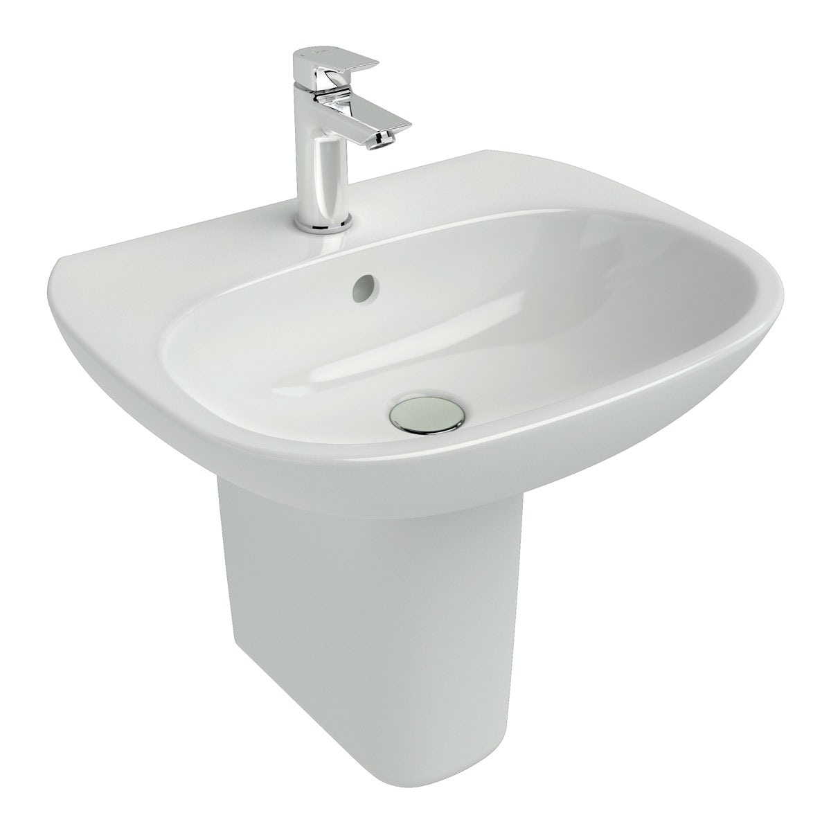 Ideal Standard Tesi 1 tap hole semi pedestal basin
