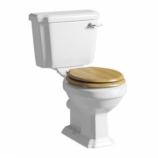 Dulwich close coupled toilet with wooden toilet seat oak effect with pan connector