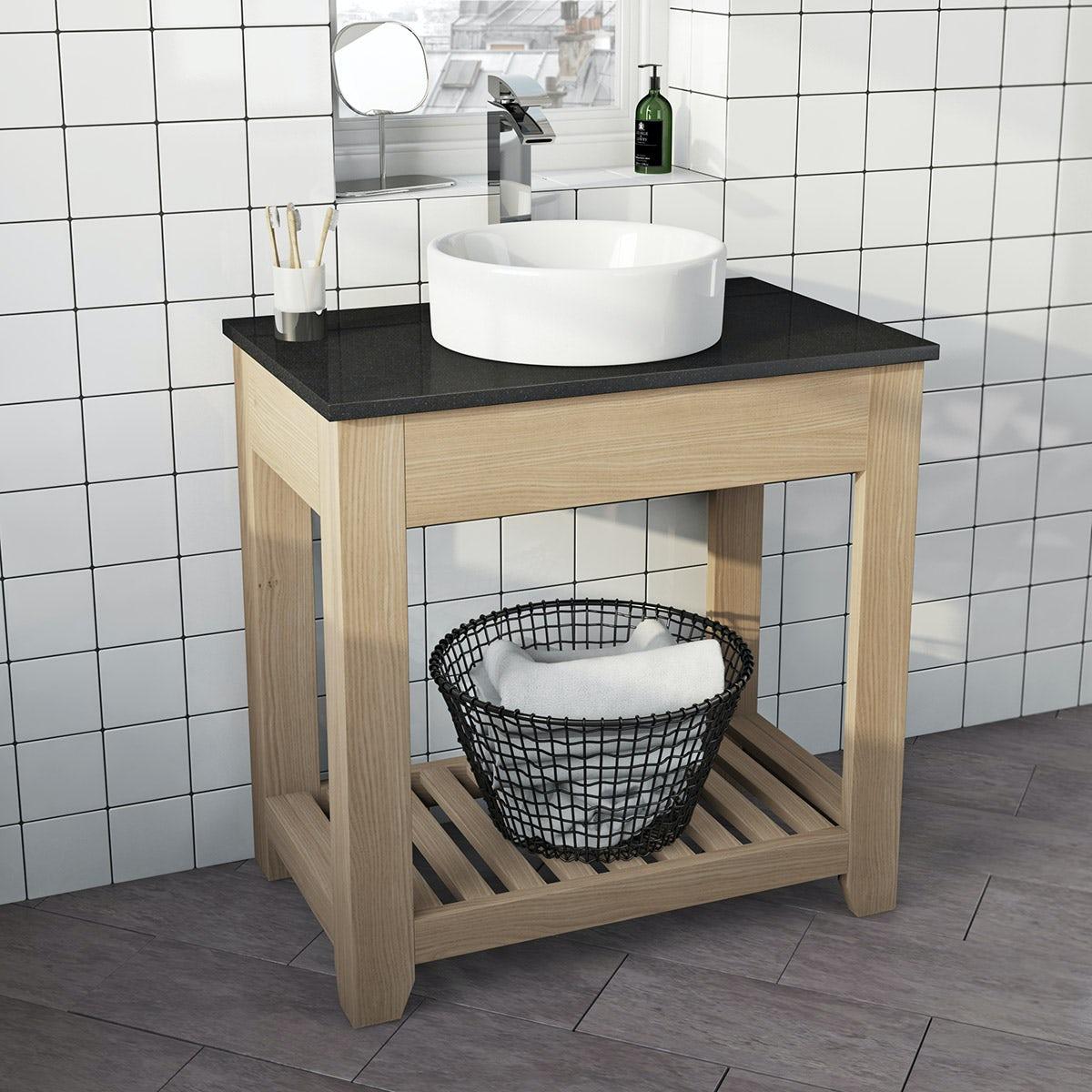 The Bath Co. Hoxton oak washstand with black marble top and Calhoun basin 800mm