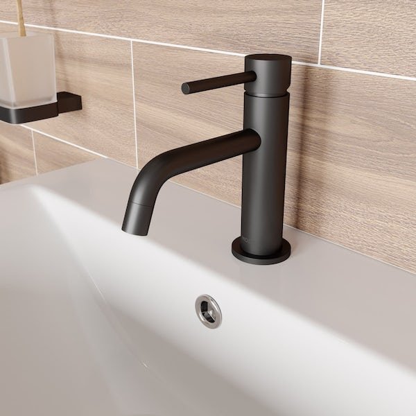 Mode Spencer round black basin mixer tap offer pack