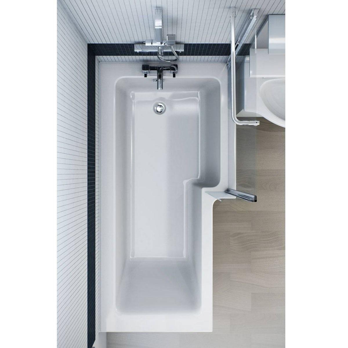 boston right handed l shaped shower bath 1700mm with 5mm leda l shape right hand reinforced shower bath 1700