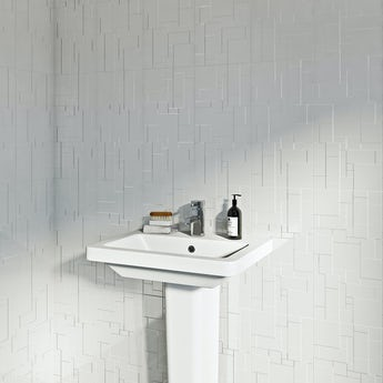 Pure white structure gloss tile 248mm x 498mm