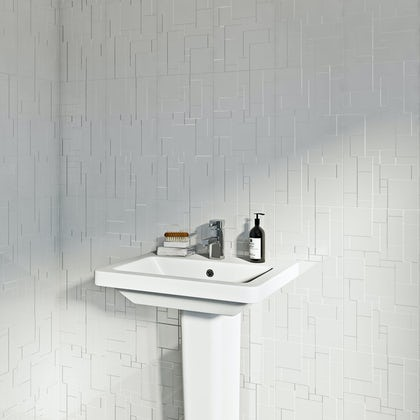 British Ceramic Tile Pure white structure gloss tile 248mm x 498mm