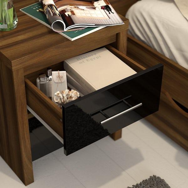 London Walnut & Black Gloss 2 Drawer Bedside