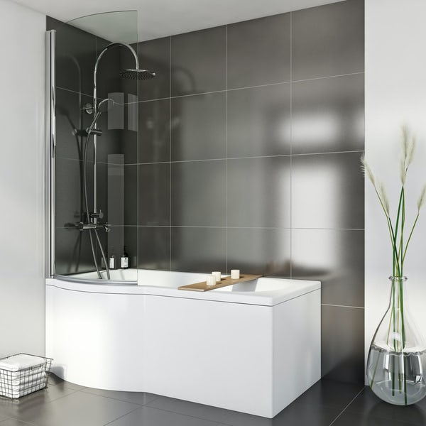 Orchard P shaped left handed shower bath