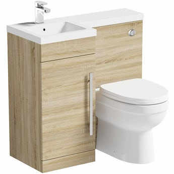 MySpace oak left handed unit with Eden back to wall toilet