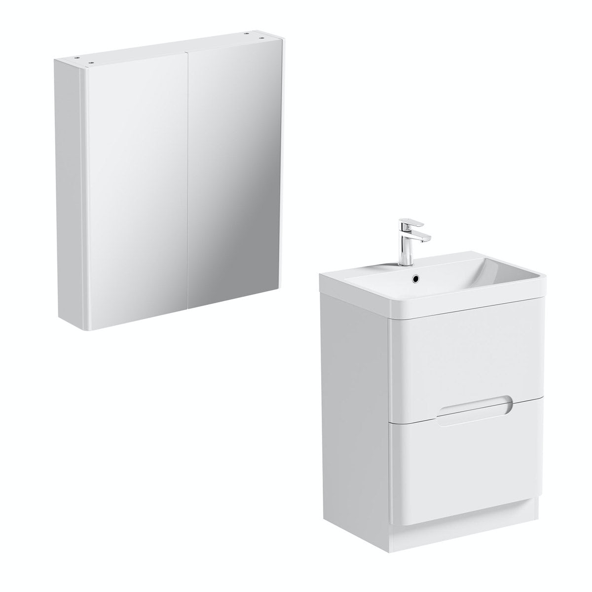 Mode Ellis white vanity drawer unit 600mm and mirror cabinet offer