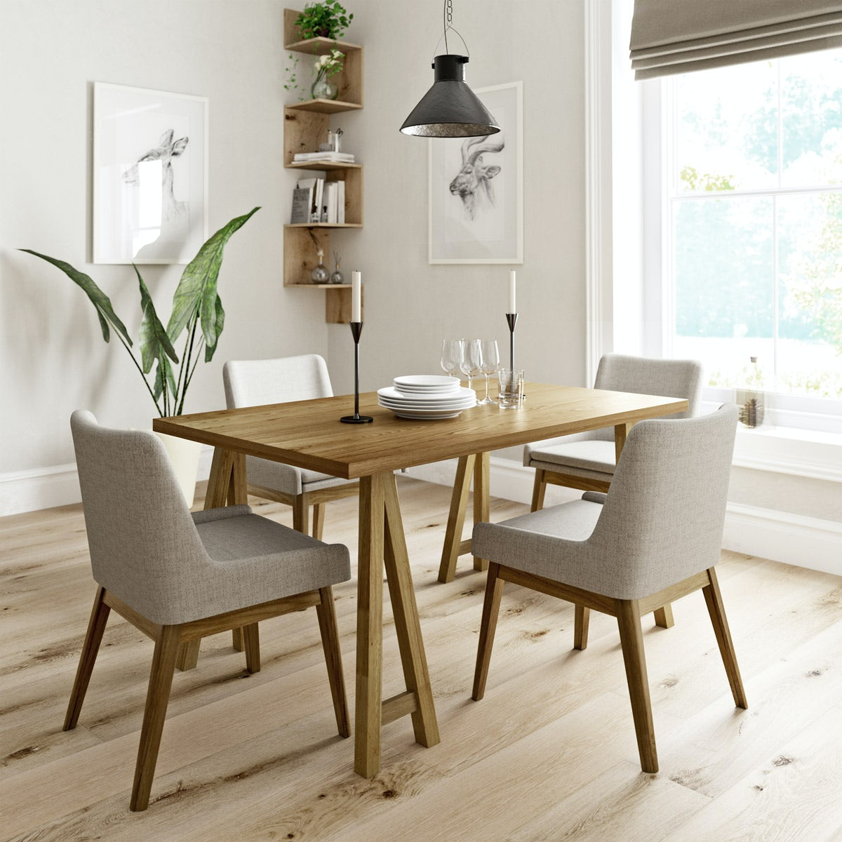 Hudson oak table with 4x lincoln beige chairs for Table 52 gaborone menu