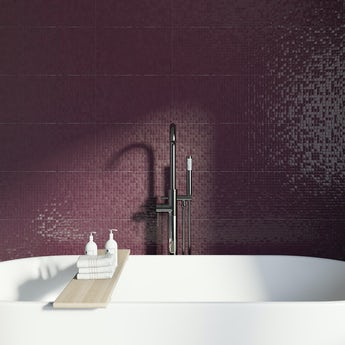 Studio Conran hartland plum pressed mosaic plum gloss tile 248mm x 398mm