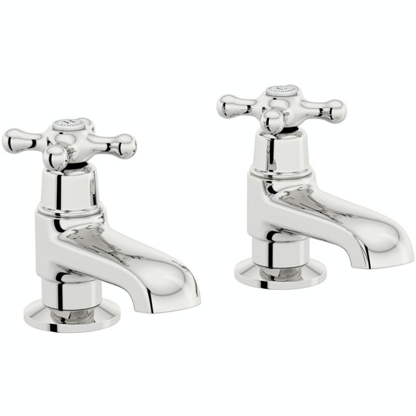 The Bath Co. Camberley wall mounted basin mixer and bath pillar tap pack