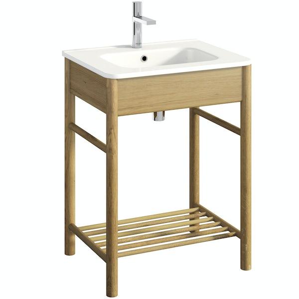 South Bank natural washstand with basin 600mm