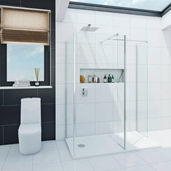 Spacious luxury 8mm 3 sided walk in shower enclosure with tray 1600 x 800 offer pack