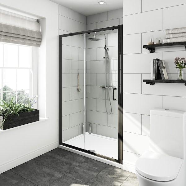 Carter bathroom suite with black shower door